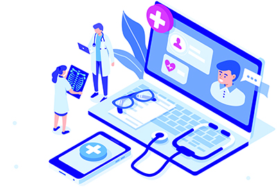 Illustration of tiny doctors standing next to a laptop and phone with health apps